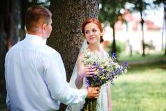 La novia y el novio se detienen las manos mientras que caminan a lo largo de fotografía de archivo libre de regalías
