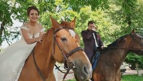 La novia y el novio se están sentando en caballos magníficos en un parque verde hermoso en su día de boda feliz junto almacen de metraje de vídeo