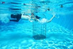 La novia y el novio y un agua subacuática de la piscina del birdcage se zambullen Fotografía de archivo libre de regalías