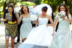 La novia y las damas de honor felices caminan a lo largo de la trayectoria en el parque Fotos de archivo
