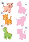 La nuance, le chat de porc et le dinosaure corrects Images stock