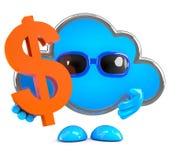 la nube 3d lleva a cabo un símbolo de moneda del dólar de EE. UU. Foto de archivo