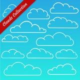 La nube forma la colección Contornos de la nube de la historieta fijados Fotografía de archivo libre de regalías