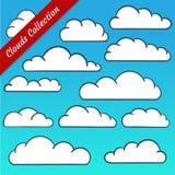 La nube forma la colección Contornos de la nube de la historieta fijados Foto de archivo