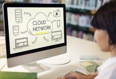 La nube separa la transferencia que comparte concepto de la red Imagen de archivo libre de regalías