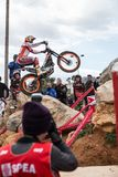 Toni Bou at Spanish National Trial Championship. LA NUCIA, SPAIN - FEBRUARY 11th 2018: 11 time world champion Toni Bou from Repsol Honda Team jumps over an Royalty Free Stock Images
