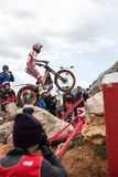 Toni Bou at Spanish National Trial Championship. LA NUCIA, SPAIN - FEBRUARY 11th 2018: 11 time world champion Toni Bou from Repsol Honda Team jumps over an Stock Photography