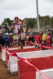 Toni Bou at Spanish National Trial Championship. LA NUCIA, SPAIN - FEBRUARY 11th 2018: 11 time world champion Toni Bou from Repsol Honda Team jumps over an Royalty Free Stock Image