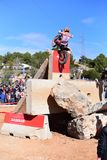 Action at the Spanish National Trial Championship 2018. LA NUCIA, SPAIN - FEBRUARY 11th 2018: World Champion Toni Bou on a Honda bike jumps over an obstacle at Stock Image