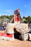 Action at the Spanish National Trial Championship 2018. LA NUCIA, SPAIN - FEBRUARY 11th 2018: World Champion Toni Bou on a Honda bike jumps over an obstacle at Stock Photo