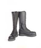 La nueva rodilla alta ata para arriba las botas de combate negras Fotografía de archivo libre de regalías
