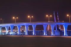 La nuit a accentué le pont Photographie stock
