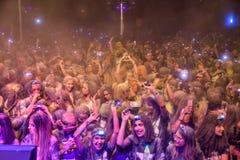La nuit Bucarest de course de couleur Images libres de droits
