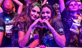 La nuit Bucarest de course de couleur Photographie stock libre de droits