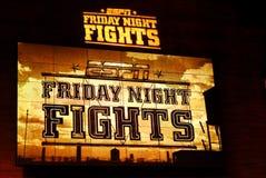 La nuit d'ESPN vendredi combat le signe Images libres de droits