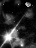 La nuit de ciel stars la lune Image libre de droits
