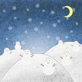 La nuit de zone de neige avec le bonhomme de neige réutilisent le métier de papier Image stock