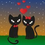 La nuit du chat - illustration,  Photos stock