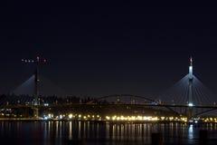 La nuit du pont de Mann de port photographie stock libre de droits