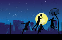 La nuit du streetball Images libres de droits