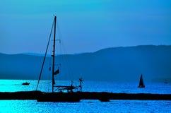 La nuit est née au Vermont sur le lac Photos libres de droits