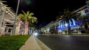 La nuit a illuminé des Frances de timelapse de la vue 4k de rue de route de circulation urbaine de rue Nice banque de vidéos