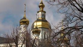 La nuit orthodoxe de supposition de rue de cathédrale de la supposition Cathedral banque de vidéos
