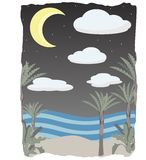 La nuit sur la plage de scène opacifie, lune et étoiles Photo libre de droits