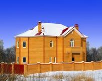 La nuova casa con mattoni a vista con il tetto rosso Immagini Stock Libere da Diritti