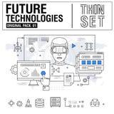 La nuova linea sottile moderna icone ha fissato la tecnologia di futuro illustrazione vettoriale