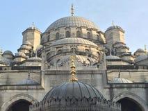 La nuova moschea Costantinopoli Eminonu dettaglia l'annata del primo piano dei monumenti storici Immagine Stock