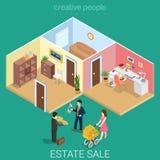 La nuova sistemazione della famiglia ha venduto il bene immobile 3d piano isometrico Immagine Stock Libera da Diritti