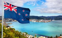 La Nuova Zelanda - bandiera - Wellington immagini stock