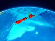 La Nuova Zelanda dall'orbita Immagini Stock Libere da Diritti