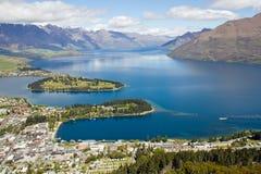 La Nuova Zelanda, Queenstown con il wakatipu del lago Fotografie Stock