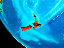 La Nuova Zelanda su terra da spazio Fotografia Stock