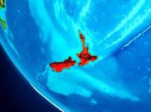 La Nuova Zelanda sul globo da spazio Immagini Stock Libere da Diritti