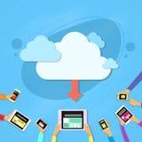 La nuvola astuta della compressa del telefono cellulare sincronizza si carica Fotografie Stock Libere da Diritti