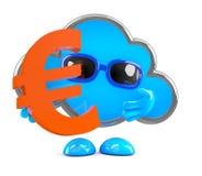 la nuvola 3d tiene un euro simbolo di valuta Immagini Stock Libere da Diritti
