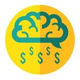 La nuvola del cervello fa l'icona di affari della pioggia dei soldi Immagine Stock