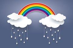 La nuvola e l'arcobaleno in cielo blu incartano lo stile di arte Stagione delle pioggie concentrata illustrazione di stock