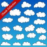La nuvola modella la raccolta Contorni della nuvola del fumetto fissati Fotografia Stock Libera da Diritti
