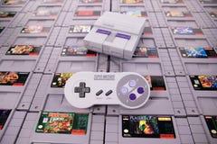 La obra clásica del Super Nintendo y el juego video retro fotografía de archivo libre de regalías