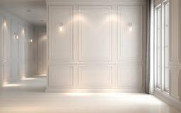 La obra clásica interior del estudio blanco vacío, 3D rinde el ejemplo 3D Fotos de archivo