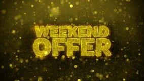 La oferta del fin de semana desea la tarjeta de felicitaciones, invitación, fuego artificial de la celebración
