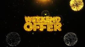 La oferta del fin de semana desea la tarjeta de felicitaciones, invitación, fuego artificial de la celebración colocado ilustración del vector