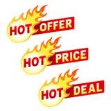 La oferta, el precio y el trato calientes flamean insignias de la etiqueta engomada Imagen de archivo