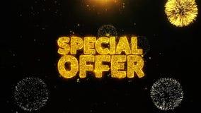La oferta especial desea la tarjeta de felicitaciones, invitación, fuego artificial de la celebración colocado
