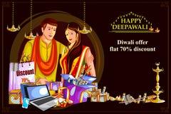 La oferta feliz de la venta de las compras de Diwali adornó el diya para el festival de la India stock de ilustración