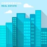 La oficina comercial de Real Estate representa las propiedades 3d Illustrat Imagen de archivo libre de regalías